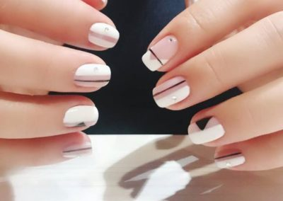 Two Tone Nail Art Design: Pastel Pink and White