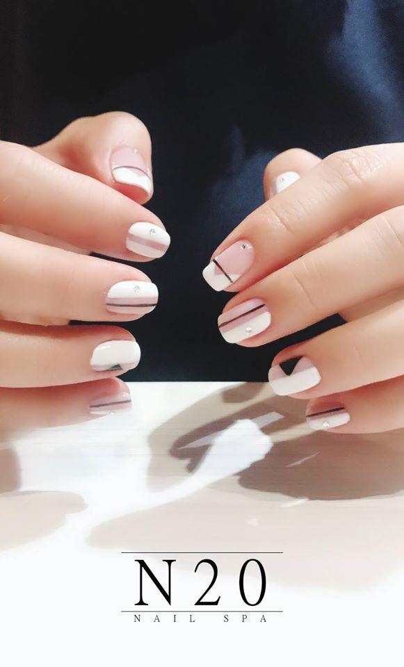 Two Tone Nail Art Design: Pastel Pink and White - N20 Nail Spa