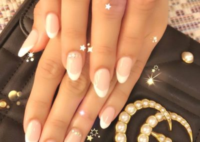 French Manicure – Classic White Tips with Tiny Gems