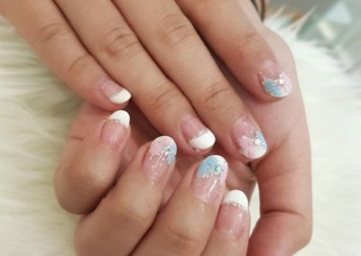 French Manicure – Classic White Tips with Two-Toned (Baby Blue & Pink) Ribbon