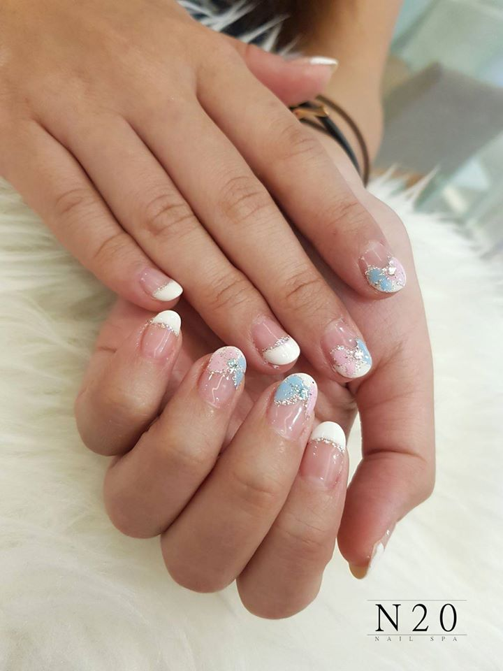 French Manicure - Classic White Tips with Two-Toned (Baby Blue & Pink) Ribbon - N20 Nail Spa