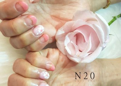 French Manicure – Coral Pink & Cherry Blossom (Sakura) Tips