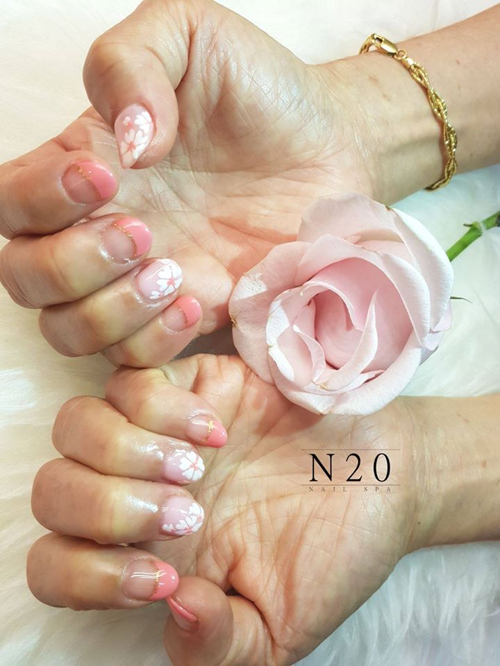 French Manicure - Coral Pink & Cherry Blossom (Sakura) Tips - N20 Nail Spa