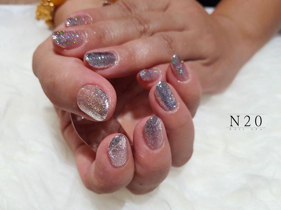 Silver Glitter Nail Art Design - N20 Nail Spa