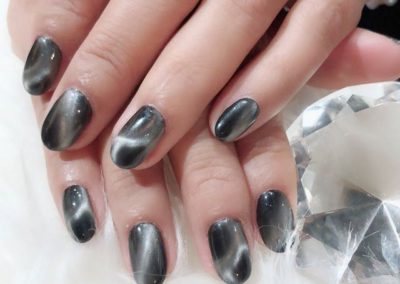 Grey Moonstone Magnetic Nail Art Design