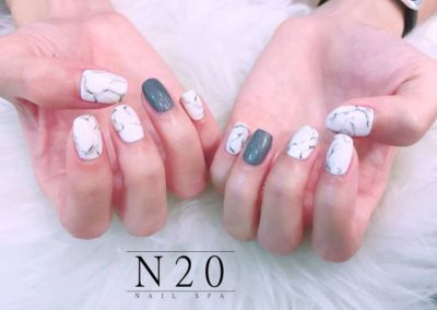 White Marble Nail Art with Grey Gel Design