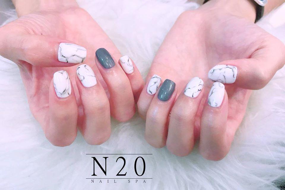 White Marble Nail Art with Grey Gel Design - N20 Nail Spa