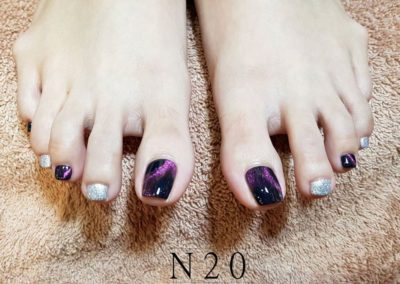 Two Colour Pedicure Nail Art – Classy, Magnetic Purple & Silver Glitter Alternates