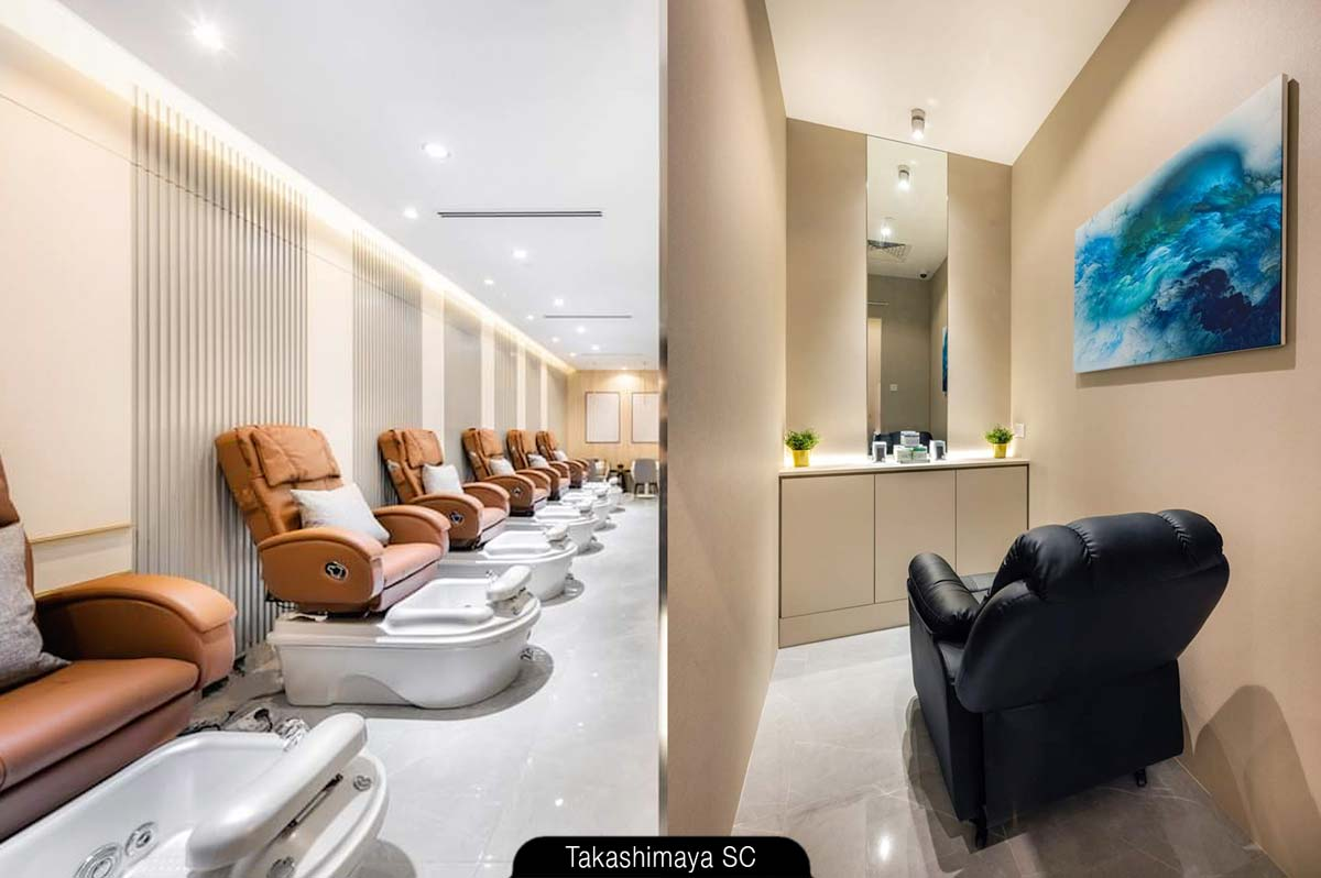 Nailography at Takashimaya S.C. - Indulge in luxurious pedicure spa (left) and enjoy a private session of lash and brow services (right)