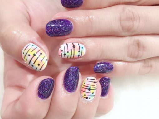 Manicure Nail Art: Glittering Purples with Pastel Rainbows