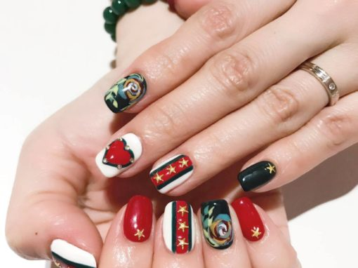 Christmas Nail Art – Gold Stars, Red Heart, Jewel Studs