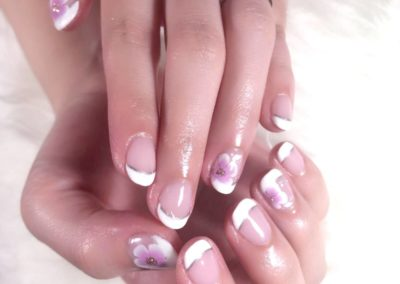 Clear Manicure Nail Art: White Tips Horizon Pink Flora