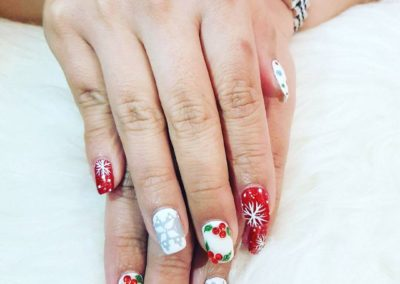 Christmas Festive Nail Art: Snow Flakes on Red and White