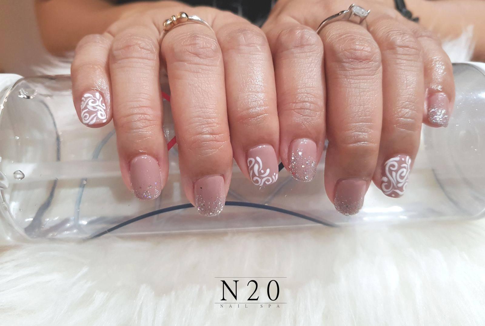 Pink white basic flora manicure nail art - N20 Nail Spa
