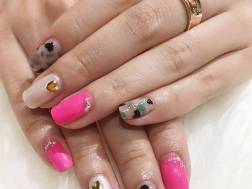 Bright Pink Natural Manicure Nail Art