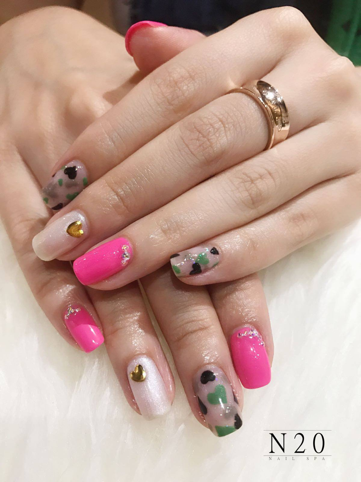 Bright pink natural manicure nail art - N20 Nail Spa