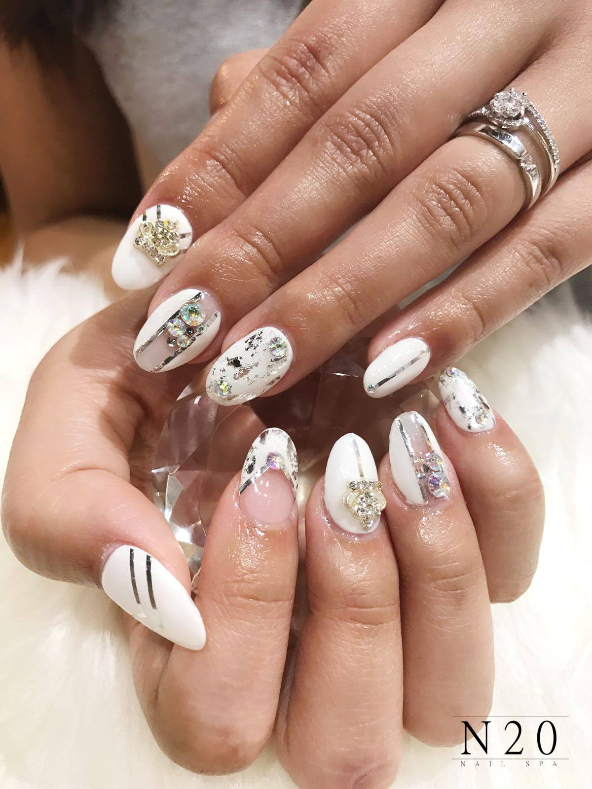 White and silver with jewel stud manicure nail art - N20 Nail Spa
