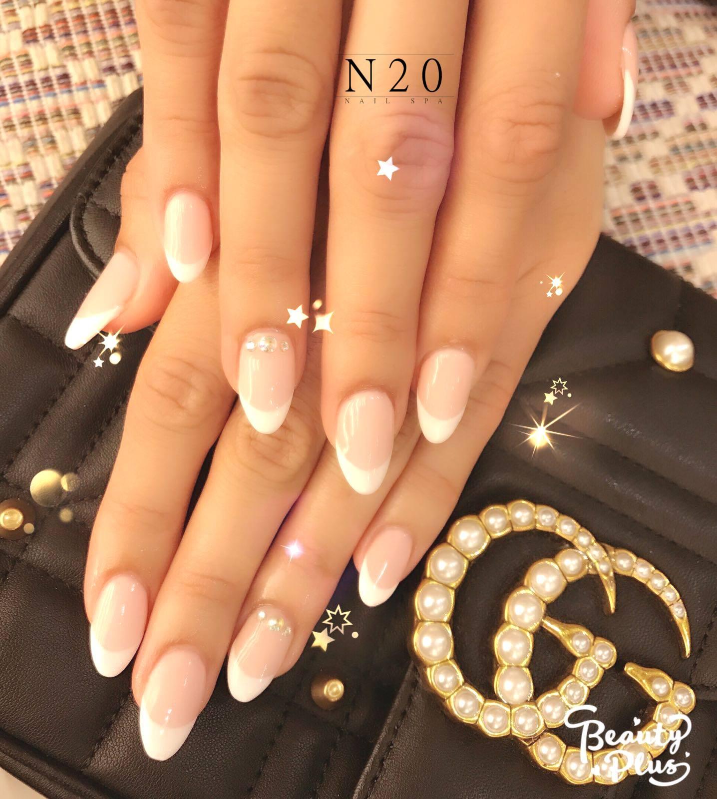 Classic Petite clear glossy shaped nail manicure - N20 Nail Spa