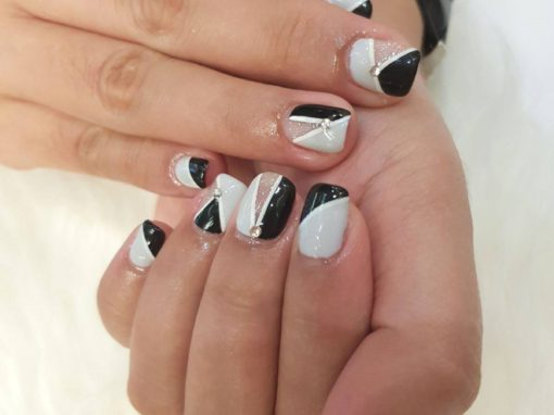 Stunning Studded black grey white stripe manicure nail art