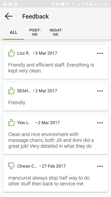Customers feedback N20 nail spa staff friendly and efficient