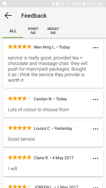 N20 nail spa service is really good, provided tea chocolate and massage chair. Bought manicure and pedicure packages as I think the service they provide is worth it. Lots of colours to choose from.